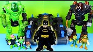 Imaginext Batman Batbot saves Green Lantern from Electro Gotham City Police take Bad Guys to jail