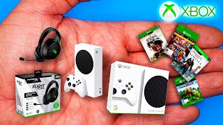 How to make a mini xbox series s and gaming headset, video game collection for one diy dollhouse accessories - tutorial | no polymer clay!unboxing the...