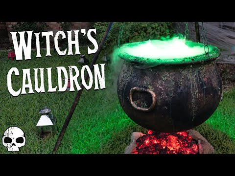 DIY Halloween Props - Bubbling Witch's Cauldron with Glowing Coals