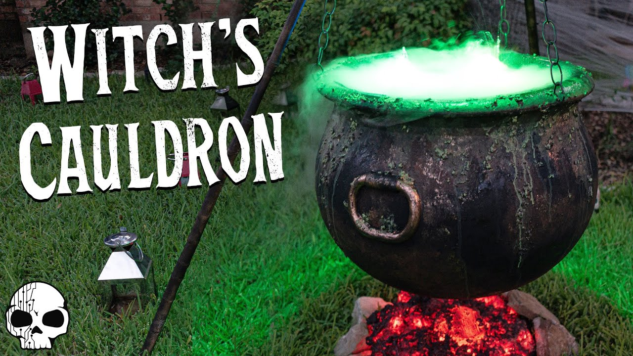 Miniature Halloween Bag Witch Stirring a Cauldron