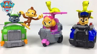 STORY WITH PAW PATROL ROLL PATROL RESCUE TURTLES AND MONKEY MANDY WITH MARSHALL CHASE SKYE & ROCKY