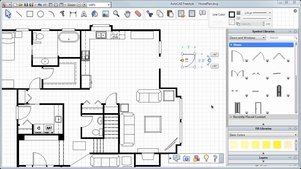 Adding Doors Windows And More Autocad Freestyle Symbols Tutorial Schematic For Get Free Image About Wiring Diagram Youtube