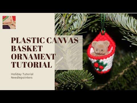 Christmas Plastic Canvas Basket Ornament Youtube