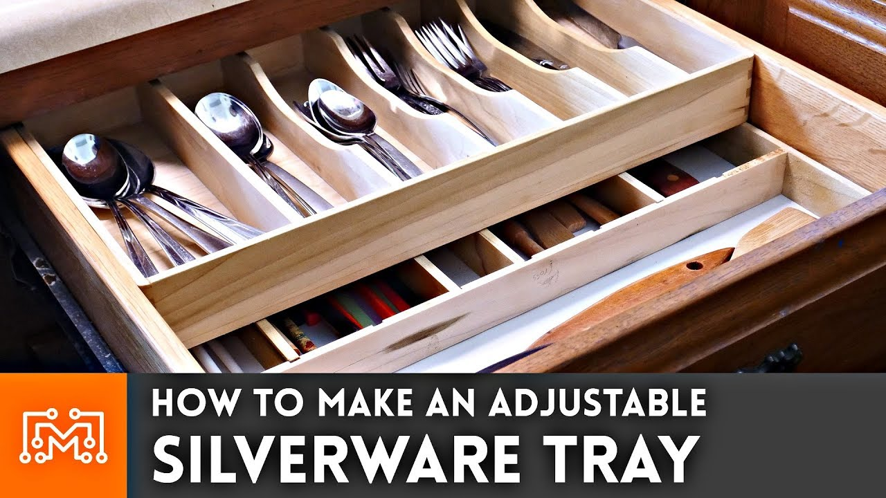 how to make an adjustable silverware tray - youtube