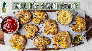 Crispy Garlic & Herb Smashed Potatoes (Easy & Vegan)
