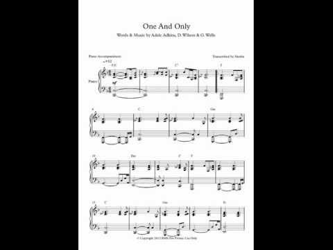 One And Only  Adele  Piano Accompaniment Sheet Music