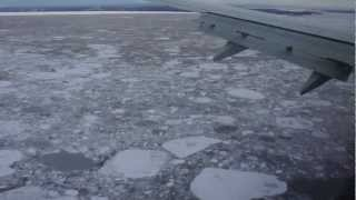 Full Approach&Landing Anchorage Airport over frozen Cook Inlet, Alaska Airlines, Boeing 737 Combi