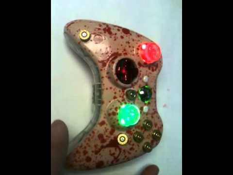 Custom Bullet Wounds & Blood Splatter Xbox 360 Controller R