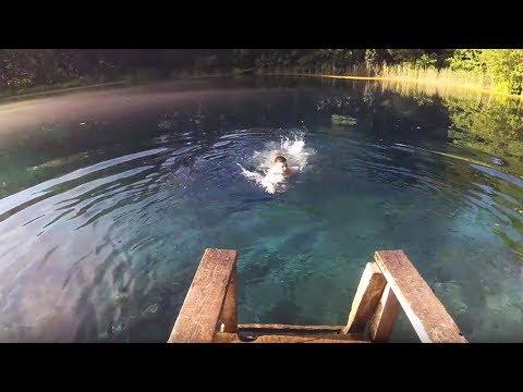 Голубое озеро в Казани - большое и малое, прыжок с дерева