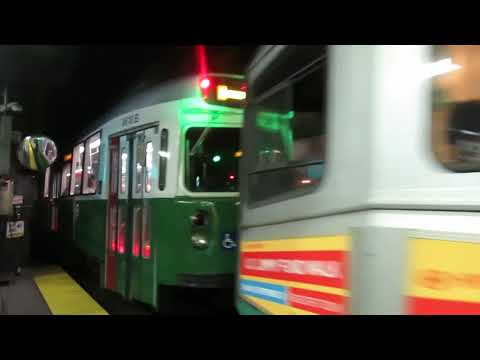 MBTA Subway: Heath St bound Type 7/Type 8 Green Line E Train leaving Park St