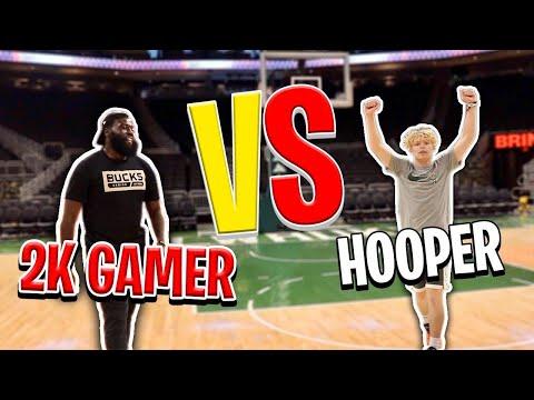 Hooper VS Pro 2K Gamer! IRL 1v1 Basketball In NBA Arena!
