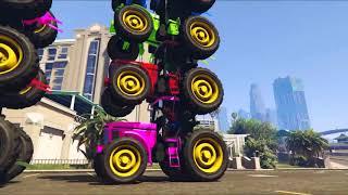 Цветные машинки Синий Трактор и Супергерои Мультики про машинки Человек Паук Му 1