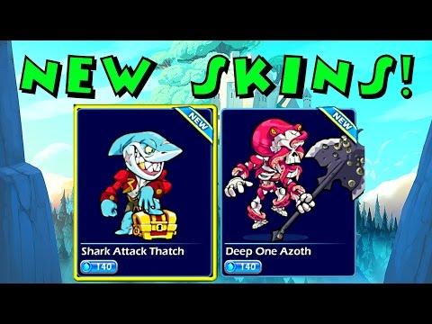 NEW SKINS! Shark Thatch & Octopus Azoth ♦ Brawlhalla Gameplay
