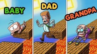 Minecraft - FAMILY FEUD CHALLENGE! (BABY vs. DAD vs. GRANDPA)