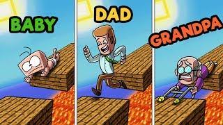 Minecraft - FAMILY FEUD CHALLENGE! (BABY vs. DAD vs. GRANDPA)