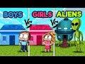 Minecraft - ALIEN BUILD BATTLE! (BOY vs. GIRL vs. ALIEN)