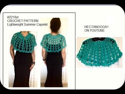 Crochet Lightweight Summer Capelet Pattern Summer Shawl 2218yt