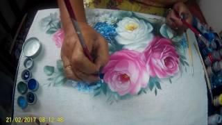 Pintando Hortências em tecido – Parte 1
