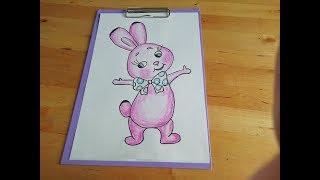 Рисуем зайца. Простые рисунки для начинающих. Уроки рисования для детей