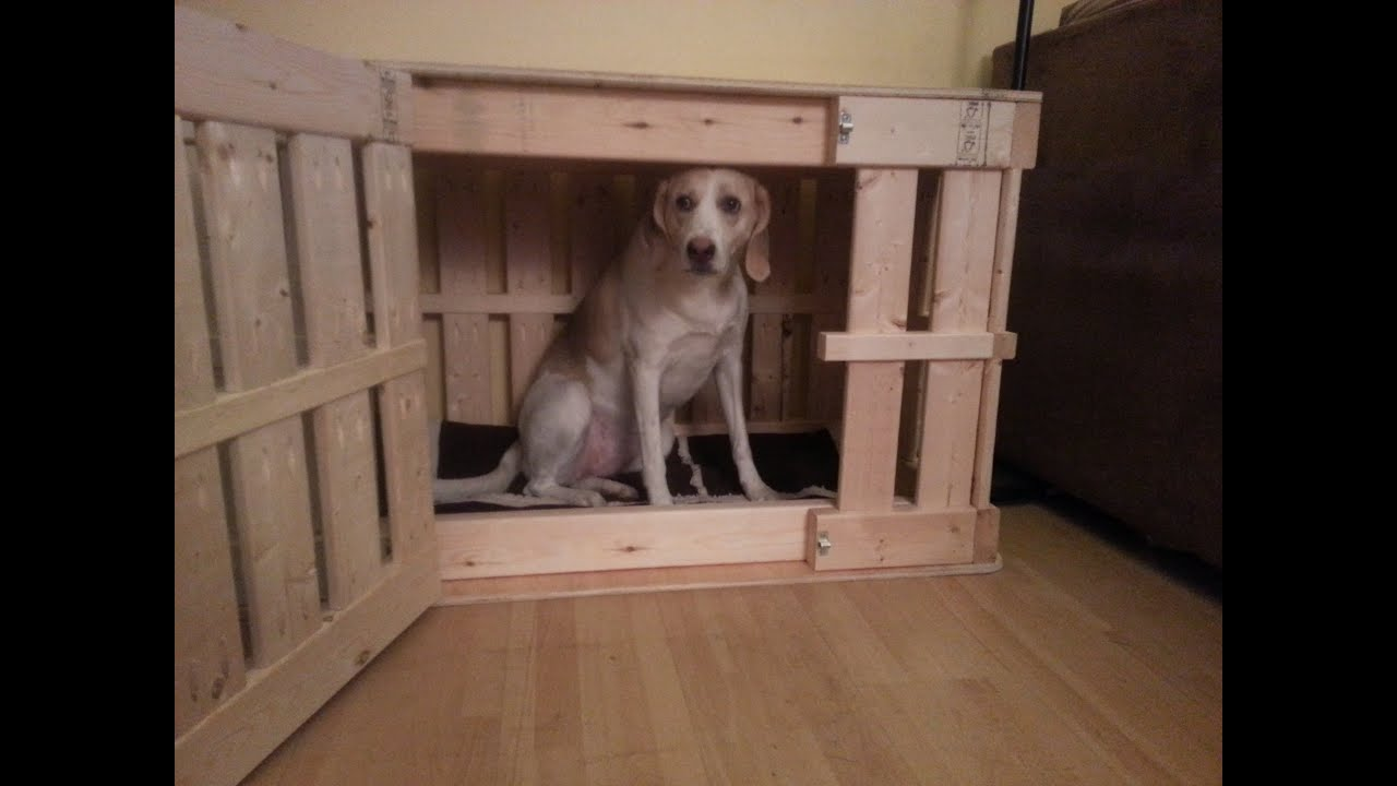 Homemade wooden dog crate youtube for Wooden dog pens for inside