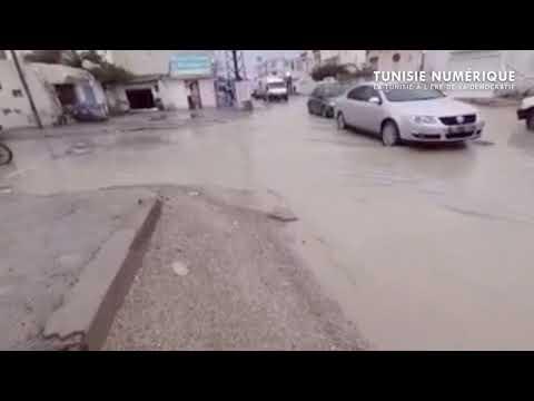 Les rues de Borj Louzir inondées après la pluie