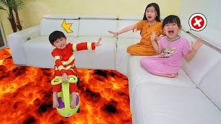 地上有岩漿短劇~爸爸和孩子們的故事!The Floor Is Lava With JO Channel~