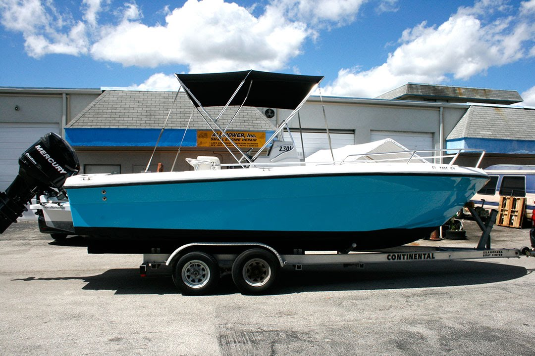 blue color change vinyl boat wrap davie florida