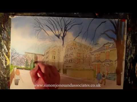 Watercolour architectural London Realty and DGL/Rolfe JuddArchitects 3