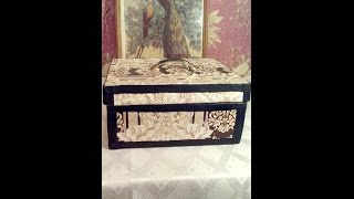 #Stylish jewerly box .ШКАТУЛКА  для ниток и иголок из обычной коробки.