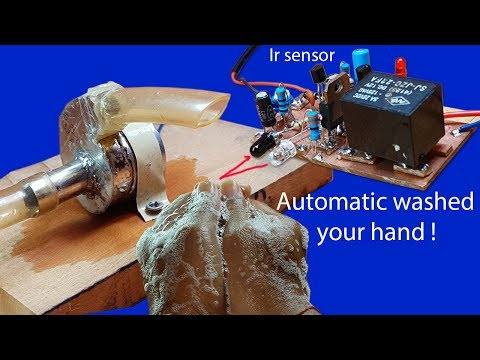 How to make automatic washed your hand circuit by using ir sensor circuit with relay 12V