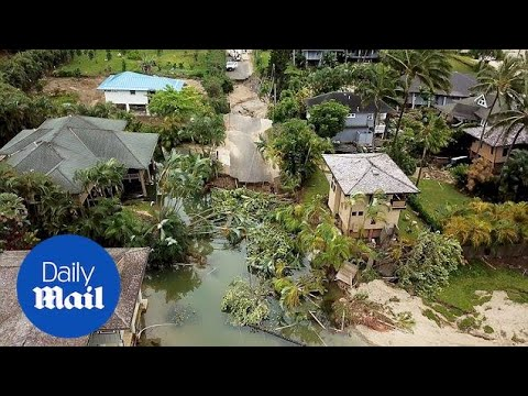 Drone footage shows damage from massive flooding in Hawaii - Daily Mail