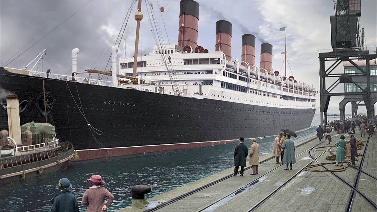 rms aquitania in colour youtube