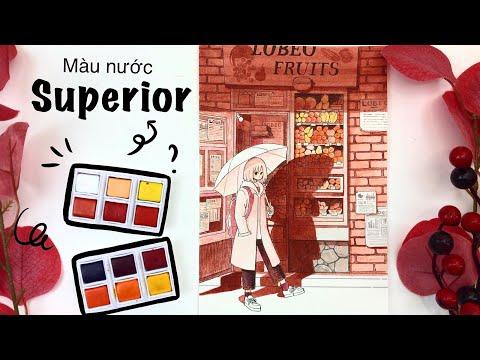 [ Họa cụ Lỗ Store ] Review màu nước giá rẻ Superior Watercolor | Lobeo Art