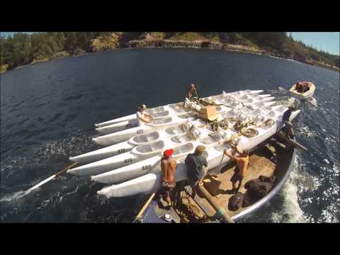 Unloading the ship - Norfolk Island Wa'a Outrigger Club canoes