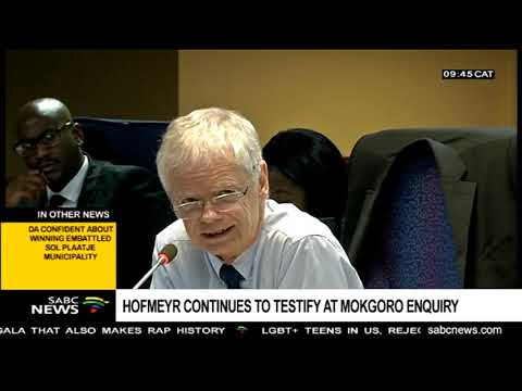 Hofmeyr continues to testify at Mokgoro Enquiry