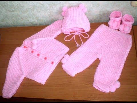 9. Вязаные костюмчики для новорожденных малышей. Вяжем реглан сверху для малышей.