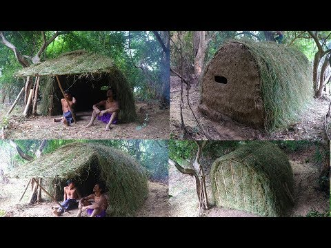 Primitive Tool: Build A-frame hut with grass and mud