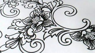 Belajar Menggambar Bunga Batik