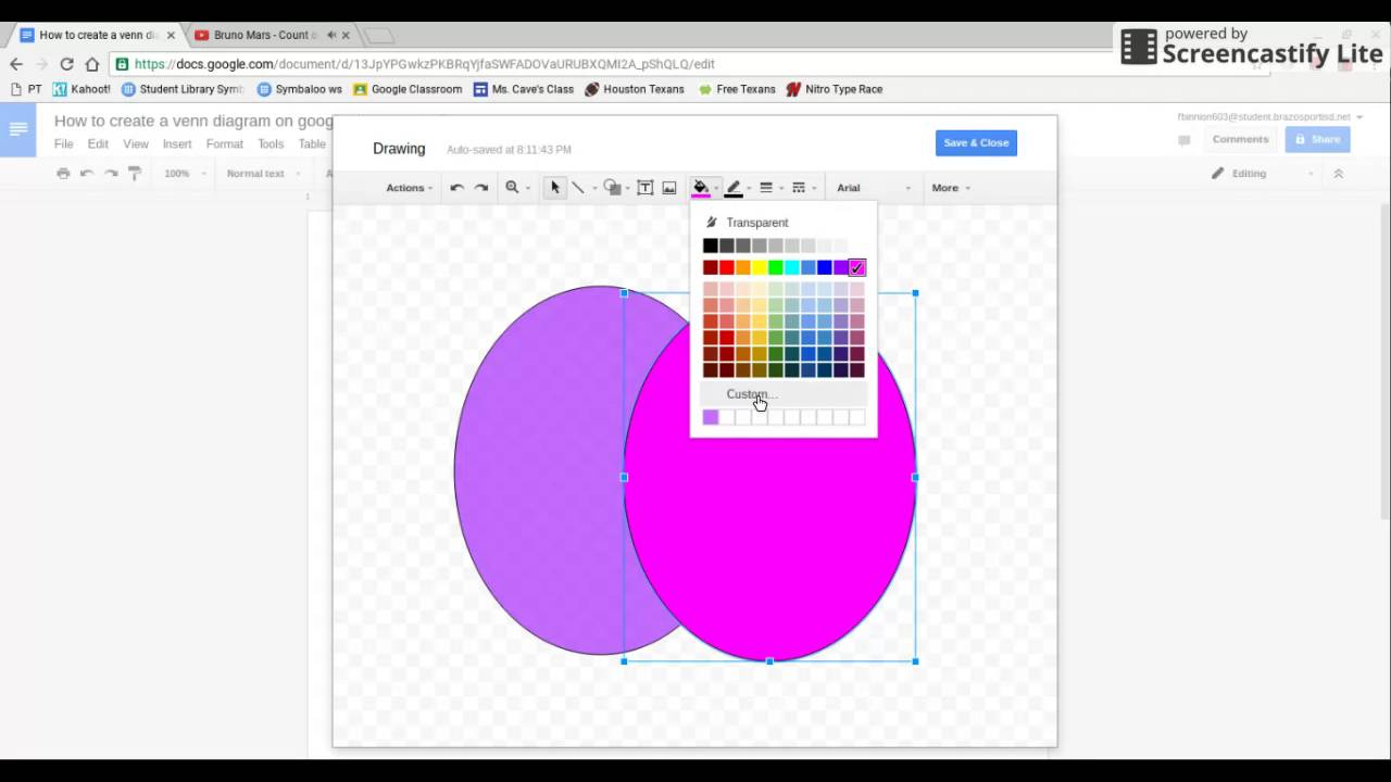 how to make a venn diagram with google docs - youtube google diagramming