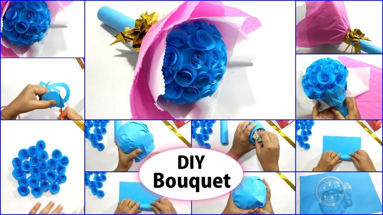 Diy Blue Rose Flower Bouquet Paper Flower Bouquet Tutorial Beautiful Bouquet Making Ideas Youtube