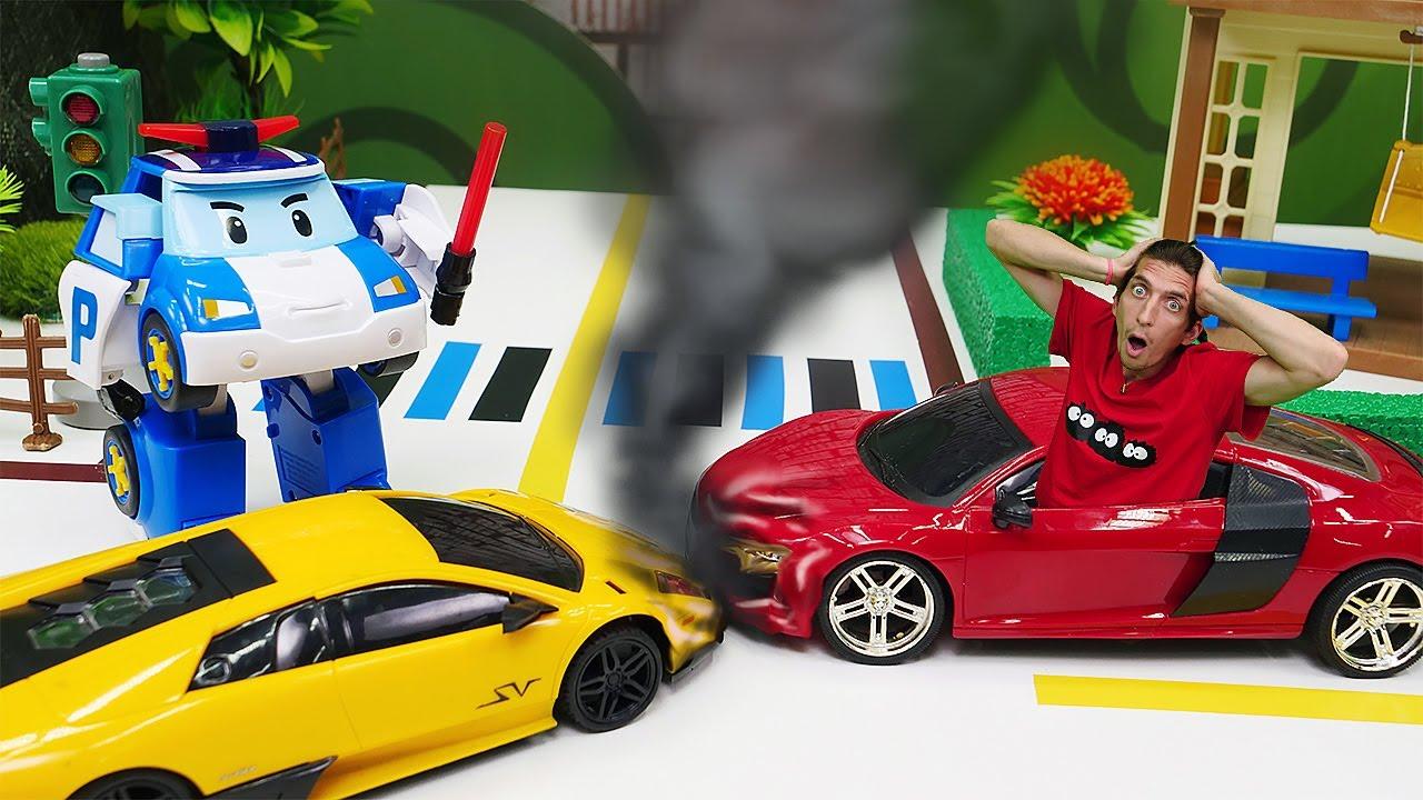 Видео про машинки и гонки. Катастрофа на дороге! Робокар Поли едет на помощь. Время быть героем!