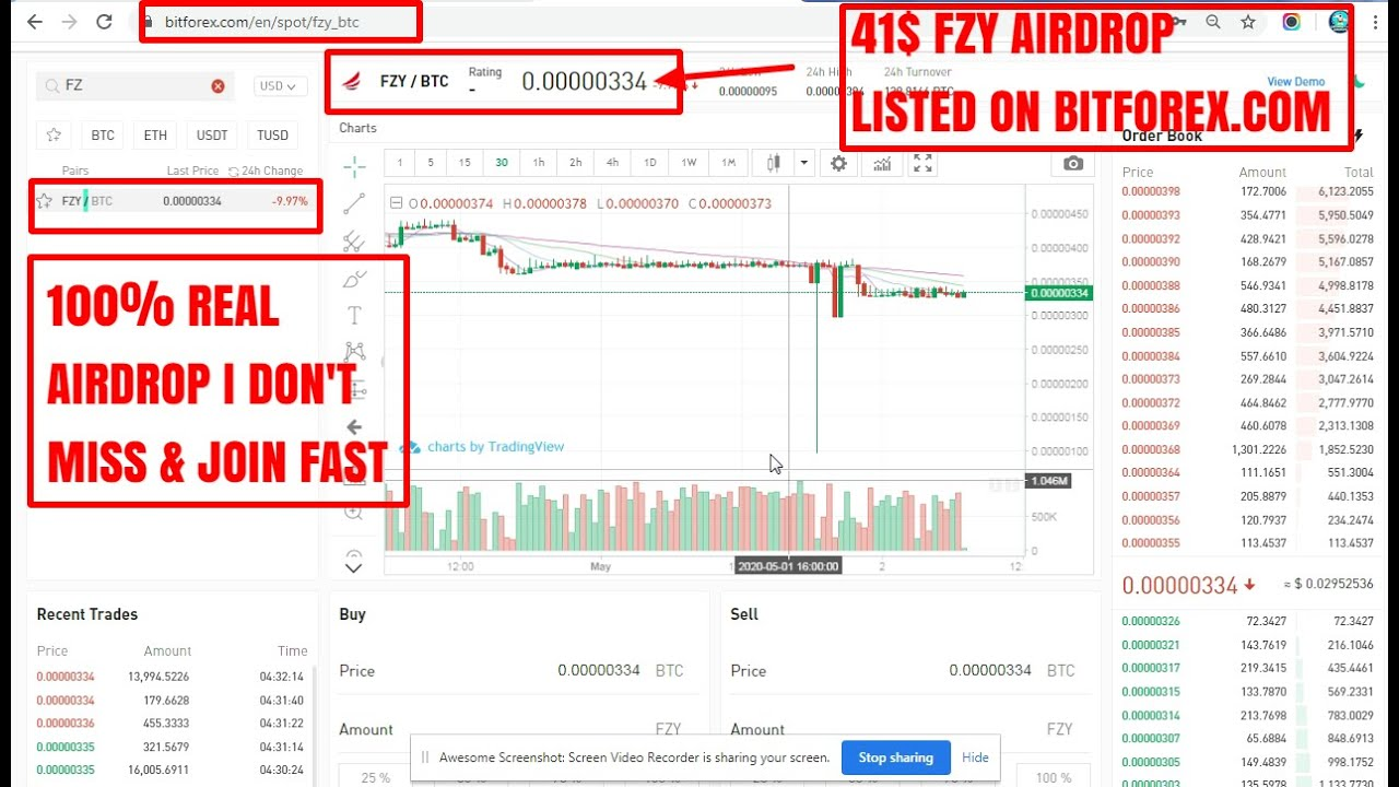 AIRDROP I GET 1250 FZY TOKEN WORTH 41$ I LISTED & TRADING IS GOING ON BITFOREX I 100% REAL AIRDR