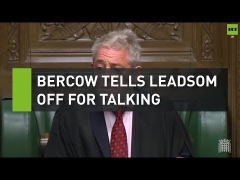 Bercow tells Leadsom off for talking during his response