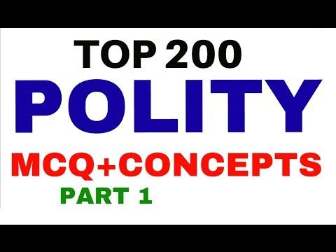 Top 200 POLITY MCQ    SUMMARY +CONCEPTS +TRICKS  - for UPSC   PCS   SSC -  part 1