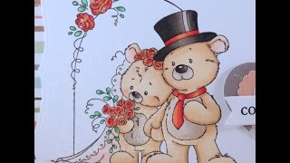 Mr and Mrs Teddy Bear Copic Coloring Card Kit