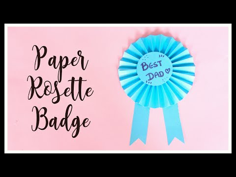 DIY: Paper Award Ribbon Rosette Tutorial | Father's day handmade Gift #fatherdaydiy #paperrosette