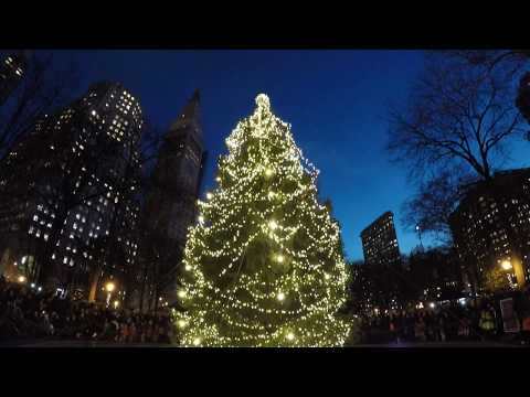 ⁴ᴷ Madison Square Park 2017 Holiday Tree Lighting Event with performance from Audra Rox