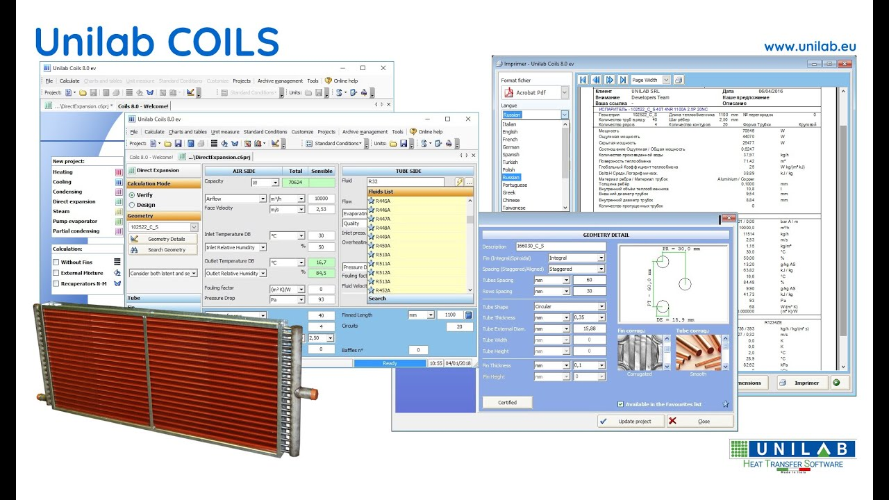 Unilab Coils Unilab Heat Transfer Software
