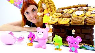 День рождения игрушки Хетчималс - Маша готовит праздник.