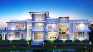 Проект дома в стиле хай тек. Дом с бассейном, террасой, балконами и парковкой. Ремстройсервис V-560